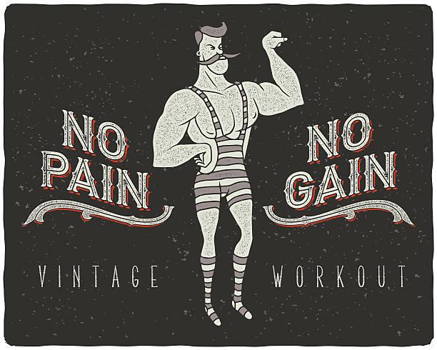 bildbanksillustrationer, clip art samt tecknat material och ikoner med no pain - no gain concept illustration - strenght men