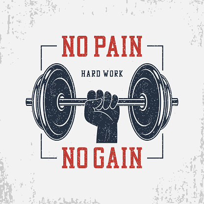 No pain, no gain. Typography for bodybuilding t-shirt with dumbbell and hand. Motivational GYM print for apparel, banner, poster. Graphics for athletic tee shirt with grunge. Vector