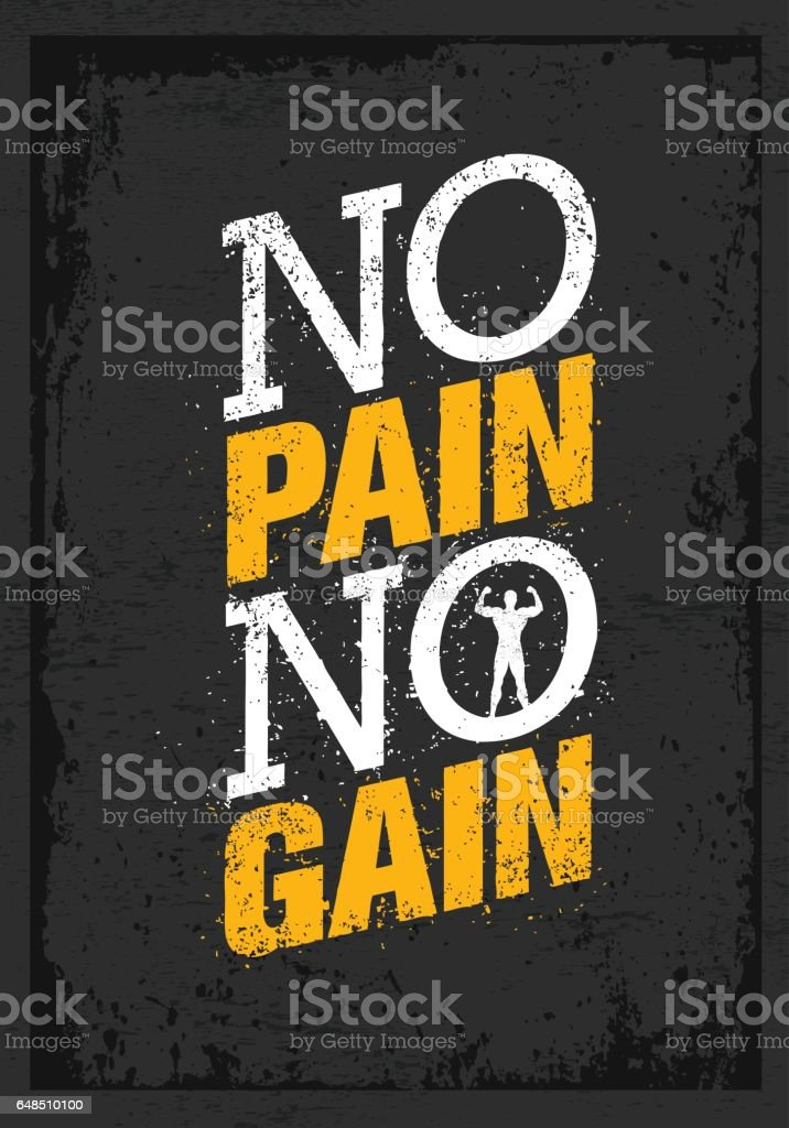 No Pain No Gain Workout And Fitness Motivation Quote Creative Vector