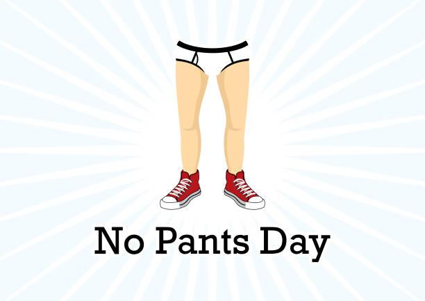 no pants day vector - ludzka noga stock illustrations
