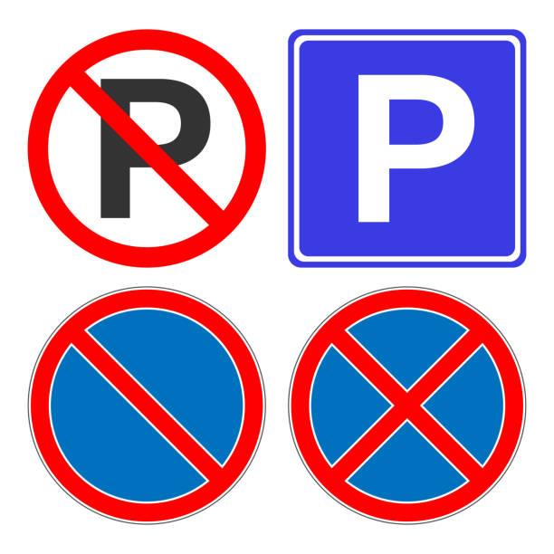 illustrations, cliparts, dessins animés et icônes de aucun parking, sans n'arrêt, aucun attente, aucun signe de commandes. signe de la zone de stationnement. icône de vecteur - gare