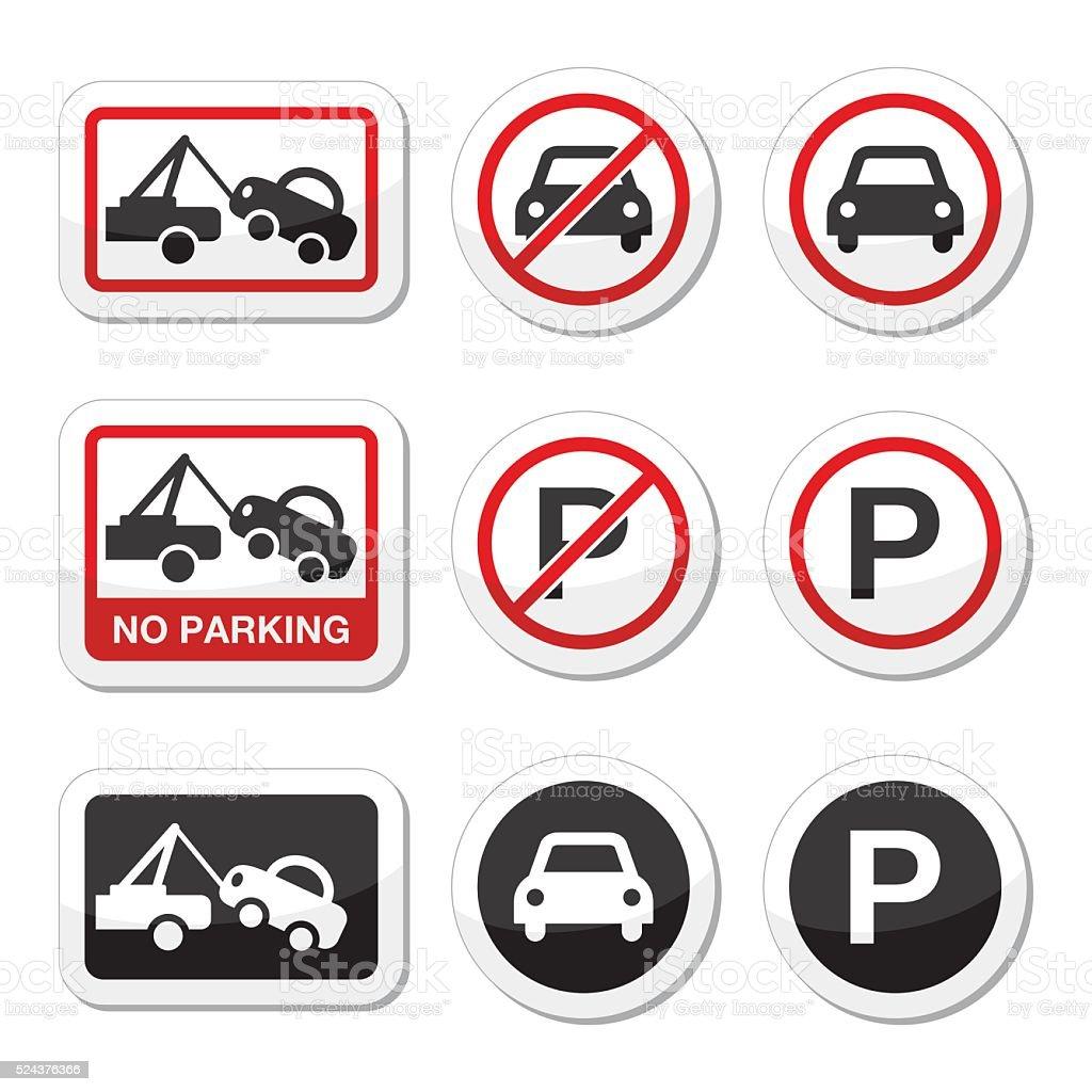 No parking, parking forbidden red and black sign vector art illustration