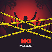 People Must Not Gather, Stay at Home Isolated - Poster, Pacard or Banner Design Concept with Cordon Tapes - Vector Illustration