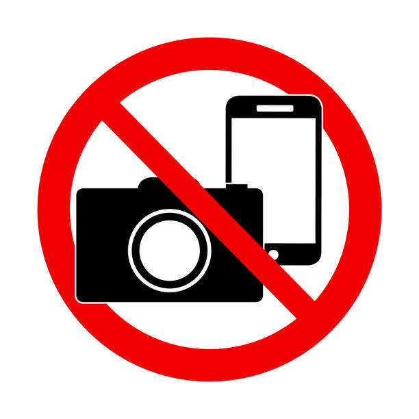 No photo and no phone sign - forbidden sign A Photo and phone forbidden warning sign vector illustration exclusion stock illustrations