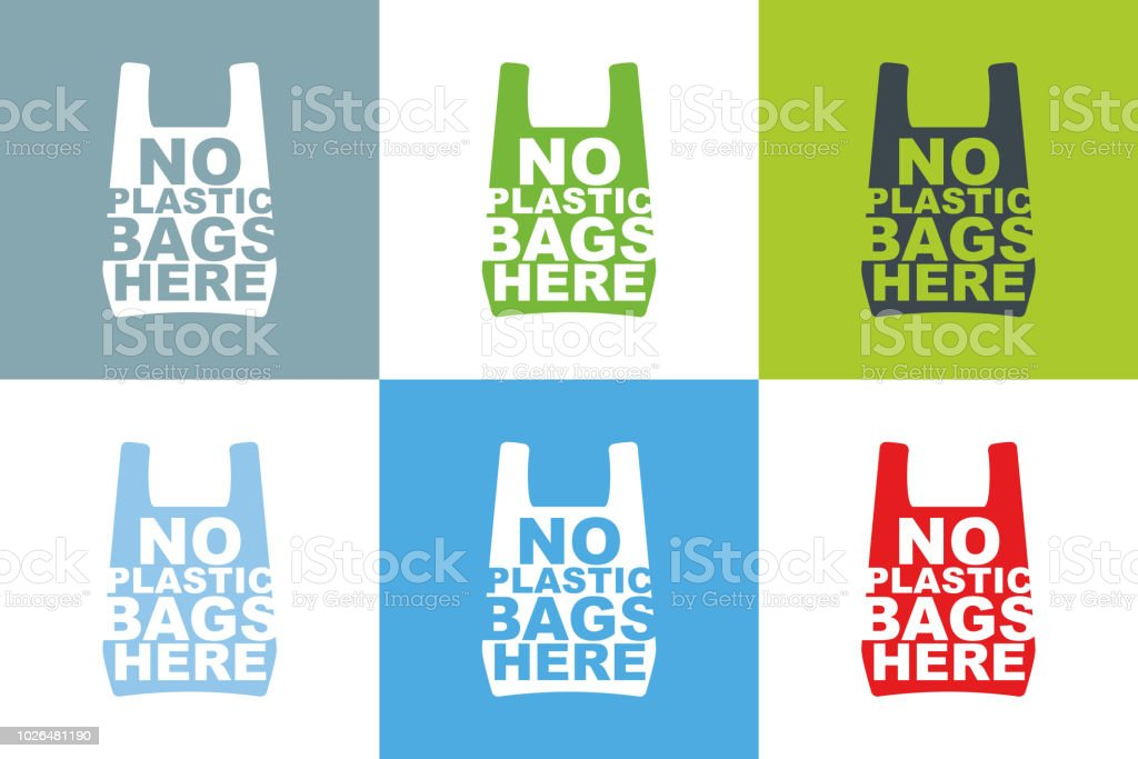 No plastic bag here slogan design collection of different color combination. Cellophane and polythene package ban sign for stores and shops. Vector illustration isolated. vector art illustration