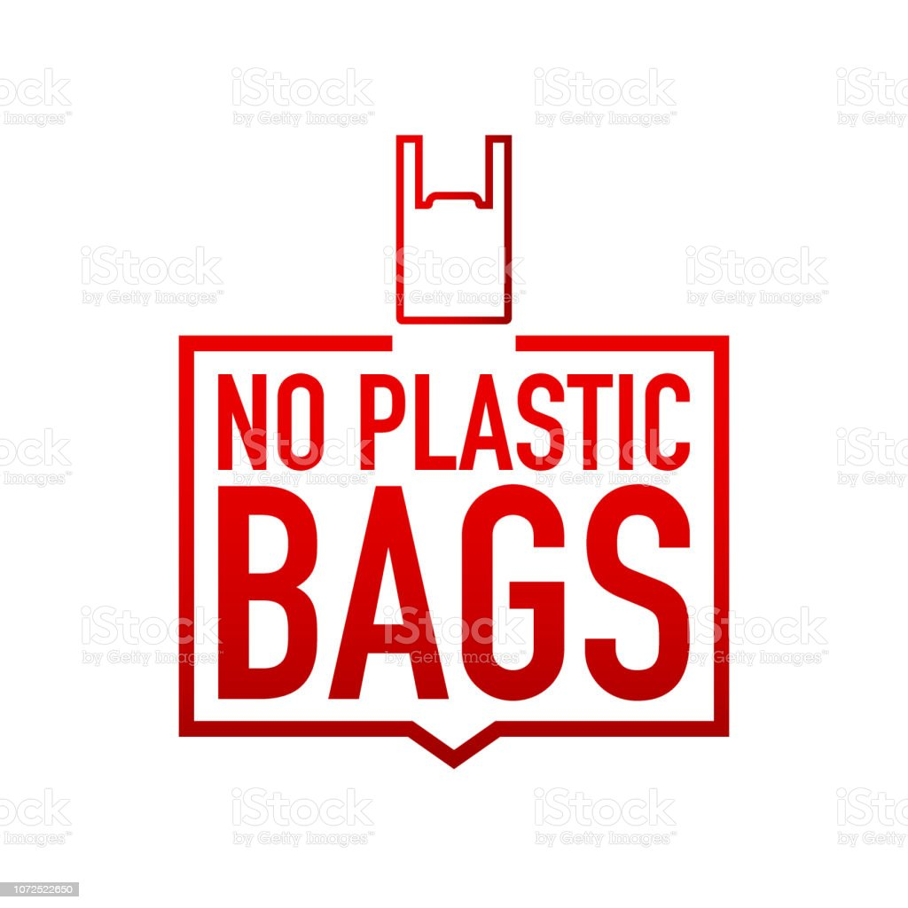 No plastic bags forbidden sign on black background. Vector illustration. vector art illustration