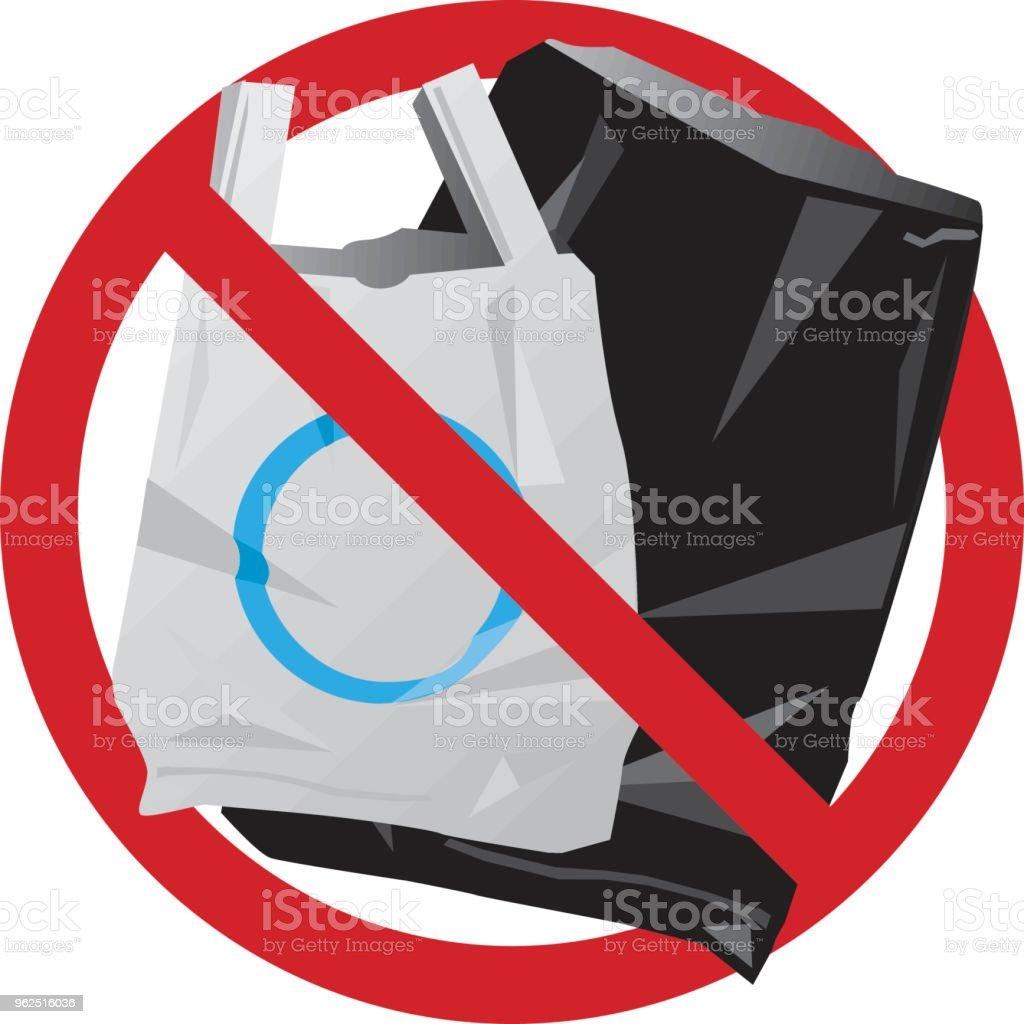 Não sacos plásticos - Vetor de Ilustração e Pintura royalty-free