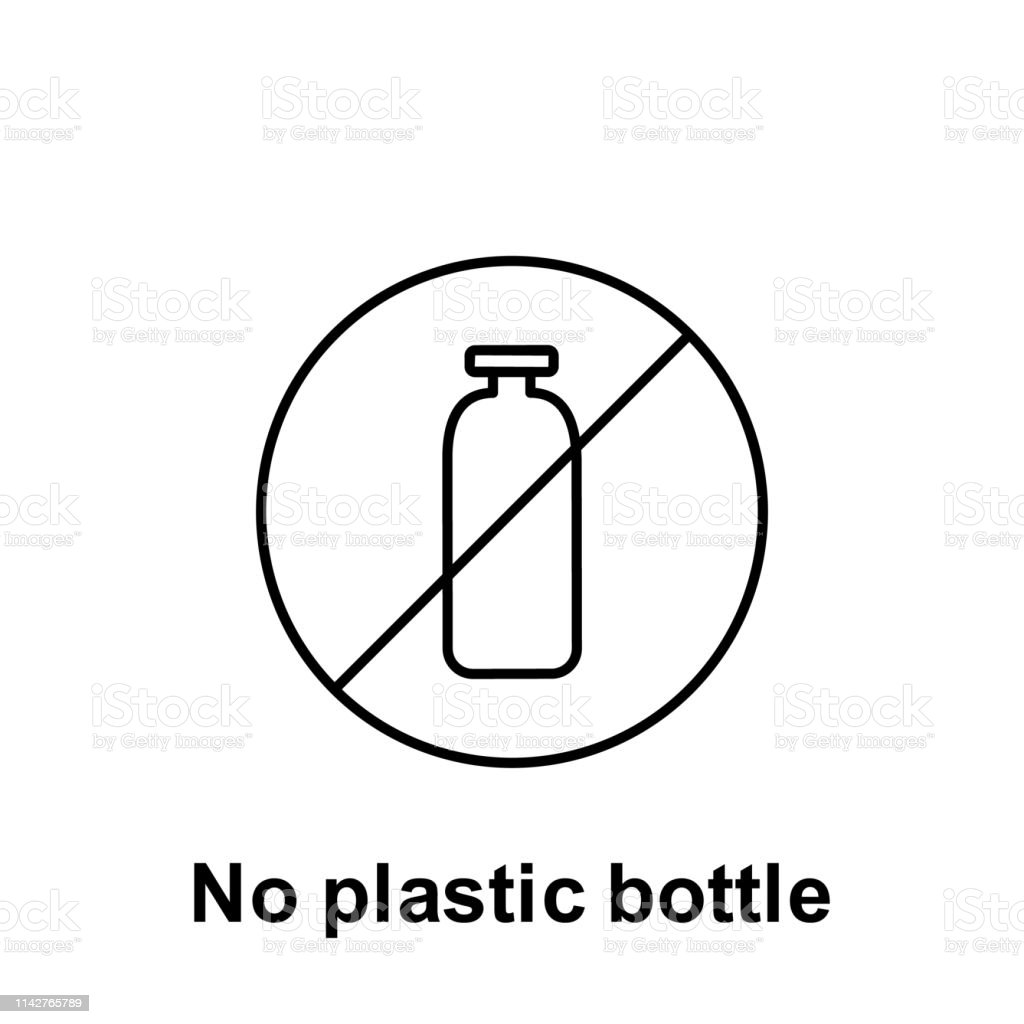 No Plastic Bottle Icon Element Of Pollution Problems Icon Thin Line