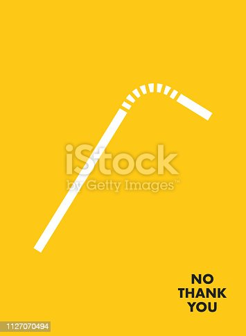 istock No Plastic Straw Motivational Poster. Say NO Plastic Save the earth 1127070494