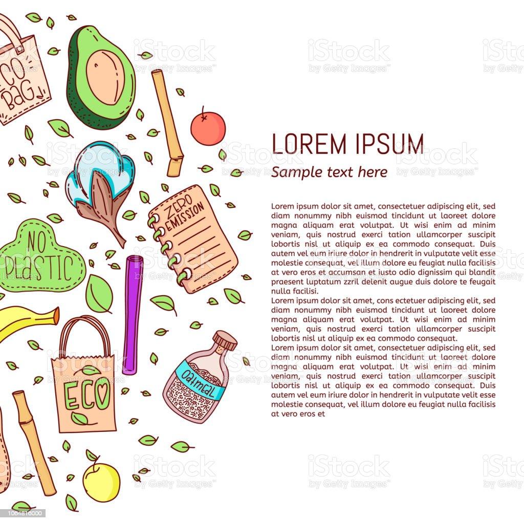 Ilustración de No Plástico Cero Residuos Estilo De Vida Ecológico ... 60f3fd76aff2