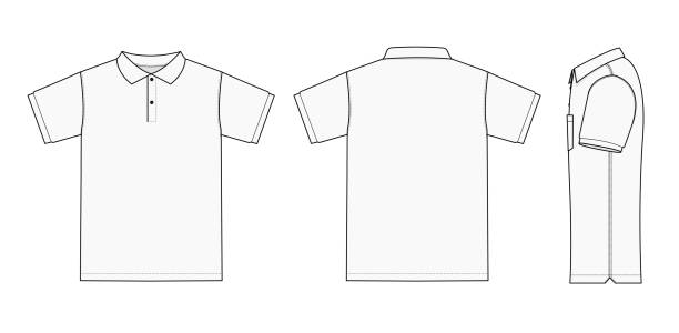 No pocket polo shirt (golf shirt) template illustration set ( front/ back/ side ) / white vector art illustration