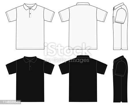 No pocket polo shirt (golf shirt) template illustration set ( front/ back/ side ) / white&black