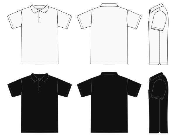 ilustrações de stock, clip art, desenhos animados e ícones de no pocket polo shirt (golf shirt) template illustration set ( front/ back/ side ) / white&black - teeshirt template