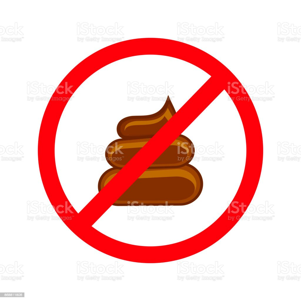 No pooping sign isolated white. Symbol forbidden, pooping stop, vector illustration. vector art illustration
