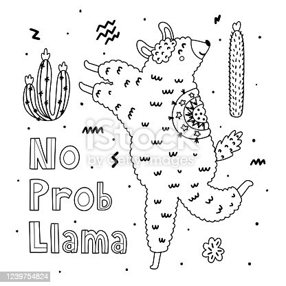 No Prob Llama coloring page with funny alpaca. Black and white background. Great for coloring book, greeting cards. Vector illustration