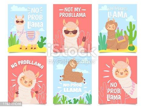 No prob llama posters. Cute llamas have no problems greeting cards, beautiful wildlife animals. Motivation alpaca llama character quote slogan card. Isolated vector illustration icons set
