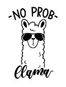No probllama card isolated on white background. Simple white llama with sunglasses and lettering. Motivational poster for prints, cases, textile or greeting cards. Vector illustration.