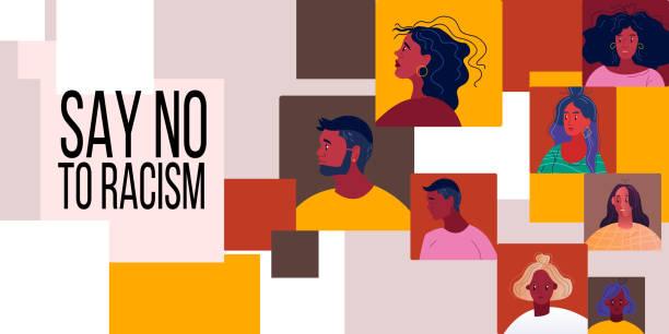 젊은 흑인 여성과 남성이 직면한 인종차별주의 추상적 배경은 없습니다. - 사회 정의 stock illustrations