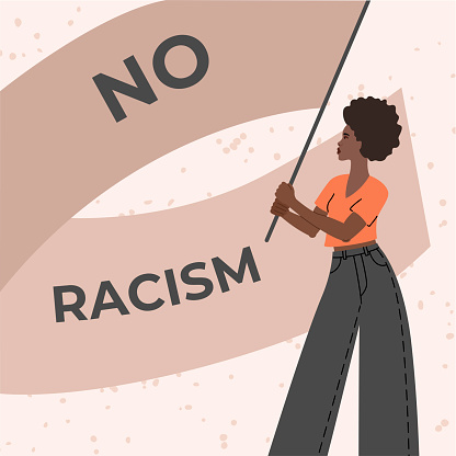 No racism banner, African American protest