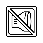 No shouting icon vector sign and symbol isolated on white background, No shouting logo concept