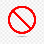 istock No Sign Icon. Red Crossed Circle Vector Design on Transparent Background. 1223037951