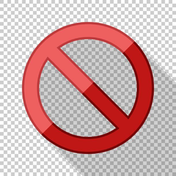 Kein Schild im flachen Stil mit langem Schatten auf transparentem Hintergrund – Vektorgrafik