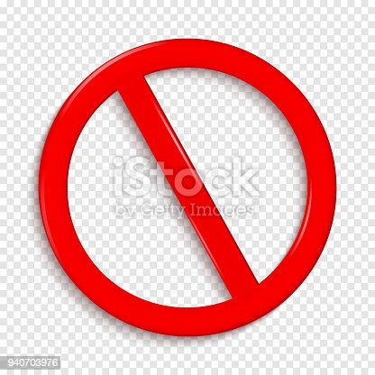 No Sign. Isolated on transparent background. Vector illustration