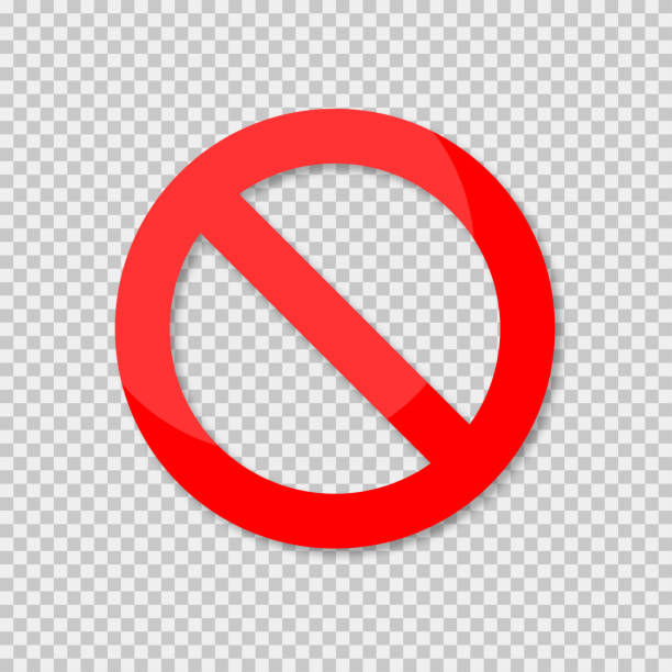 No sign isolated. Red no symbol. Circle red warning icon. Template for button or web applications. No sign isolated. Red no symbol. Circle red warning icon. Template for button or web applications. EPS 10 exclusion stock illustrations