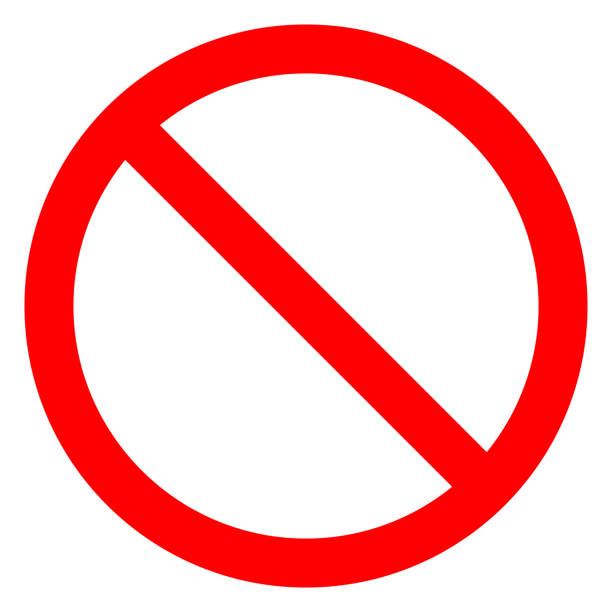 No sign - red thin simple, isolated - vector No sign - red thin simple, isolated - vector illustration exclusion stock illustrations