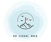 No Signal Area Icon with Watercolor Patch