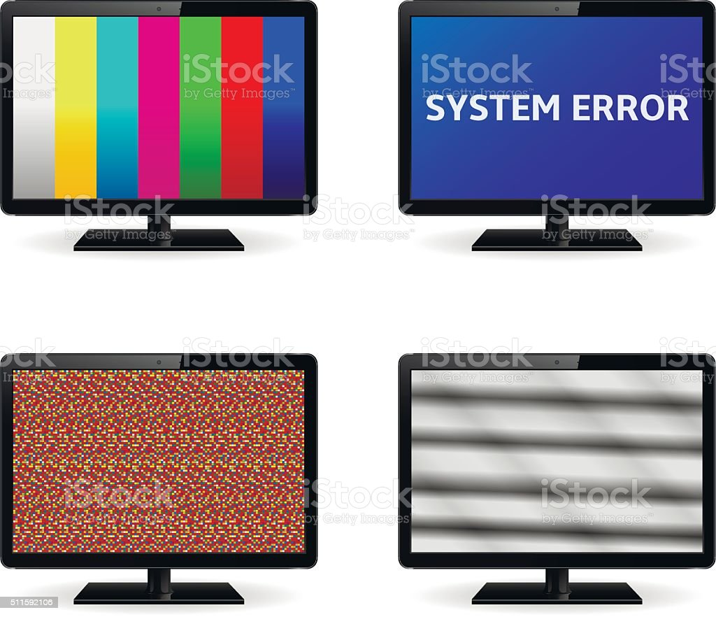 No Signal On Lcd Monitor Screens Stock Illustration - Download Image