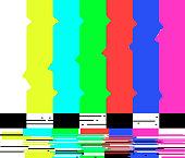 No signal poster TV retro television test pattern screen glitch background color bars vector illustration. broken noise banner. Film off old monitor error.