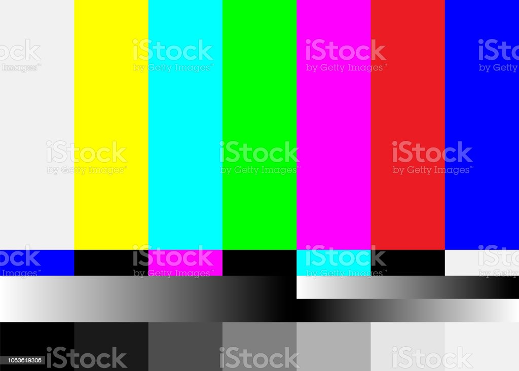 No Signal TV Test Pattern Vector. Television Colored Bars Signal. Introduction And The End Of The TV Programming. SMPTE Color Bars Illustration. - Grafika wektorowa royalty-free (Abstrakcja)