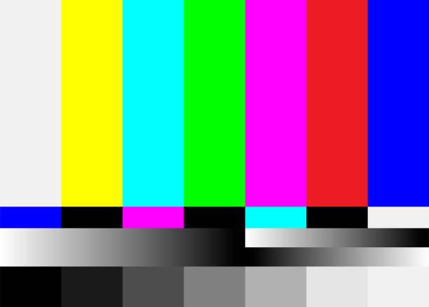 brak wektora wzorca testu telewizji sygnałowej. sygnał kolorowych pasków telewizyjnych. wprowadzenie i koniec programów telewizyjnych. ilustracja pasków kolorów smpte. - kolory stock illustrations