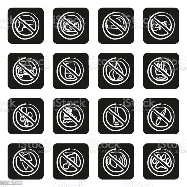 No signs or forbidden signs icons freehand white on black vector id1128927556?b=1&k=6&m=1128927556&s=612x612&h=rujefz89anwi3x2ea816oxw5r2egsv1n ypuv1jobrg=