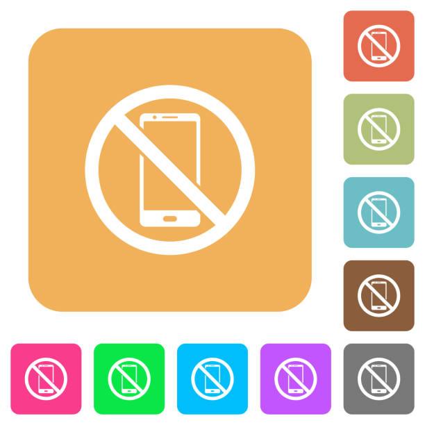 Kein Smartphone abgerundet eckige eckige flache Ikonen – Vektorgrafik