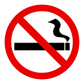 No smoke sign with black cigarette sign or symbol and red no sign or symbol