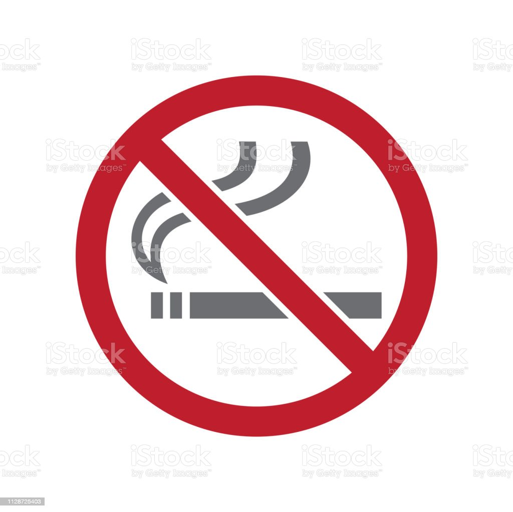 No Smoking Allowed Sign On White Background For Graphic And