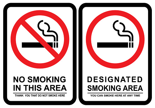 No smoking and Smoking area. Vector illustration