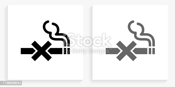 No Smoking Black and White Square Icon. This 100% royalty free vector illustration is featuring the square button with a drop shadow and the main icon is depicted in black and in grey for a roll-over effect.
