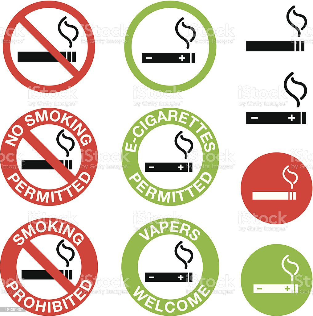 No Smoking, E-Cigarettes Only Signs vector art illustration