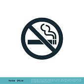 No Smoking Icon Vector Logo Template Illustration Design. Vector EPS 10.