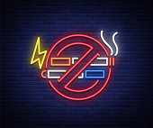 No smoking no vape neon sign. Bright symbol, neon banner, icon, illuminated sign of smoking and vaping in an unauthorized place. Stop electronic cigarettes. Stop smoking. Vector illustration.