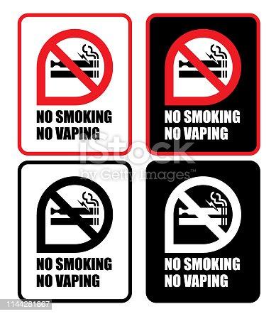 Vector of No Smoking and No Vaping Sign icon set. EPS Ai 10 file format.