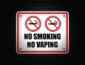 Vector of NO Smoking No Vaping Sign set on dark background. EPS ai 10 file format.