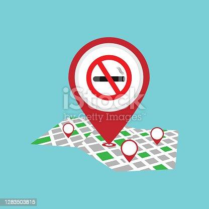 istock No Smoking Pin Pointer On Map Location 1283503815