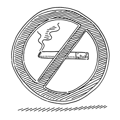 No Smoking Prohibition Sign Drawing