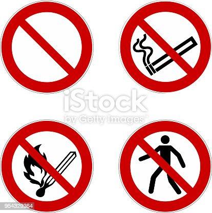 no smoking, prohibition sign, icon set , vector