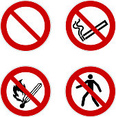 no smoking, prohibition sign, icon set , vector