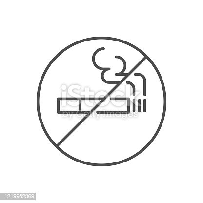 No smoking prohibition sign related vector thin line icon. Prohibition Sign Cigarette . Isolated on white background. Editable stroke. Vector illustration.